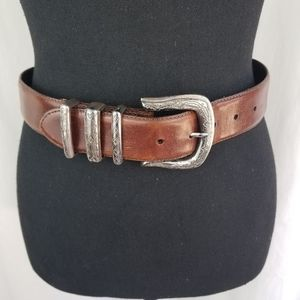 FOSSIL leather belt brown silver buckle S